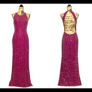 Scala Pink Silk Sequin Open-Back Halter Dress XL
